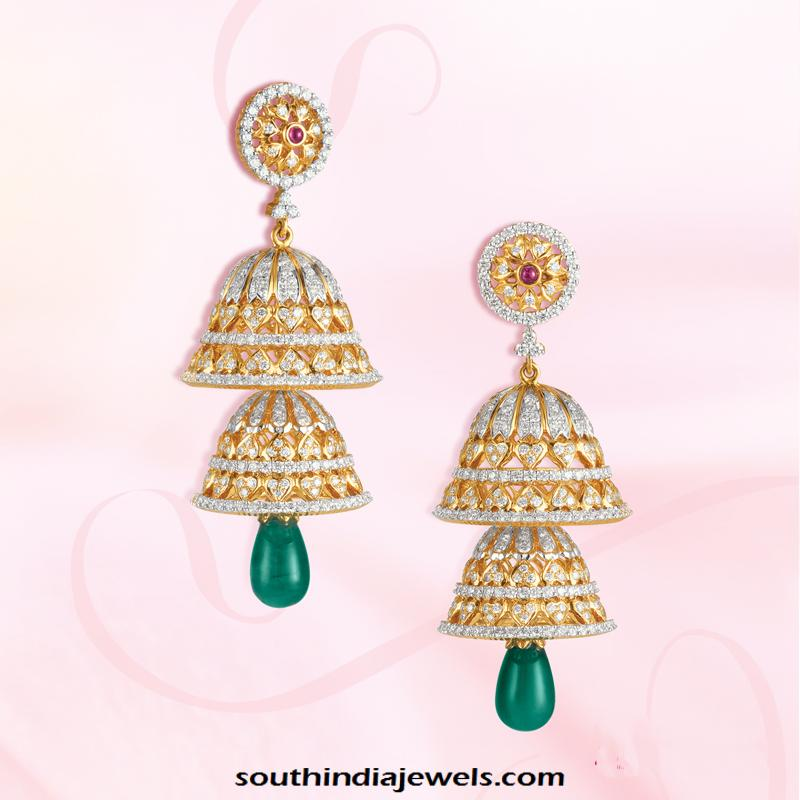 GRT Jewellers Gold stone Jhumka designs