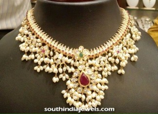 22K Gold and Pearl Guttapusalu necklace design