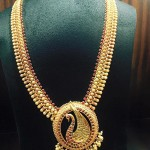 Gold Ruby Peacock Long Necklace Design