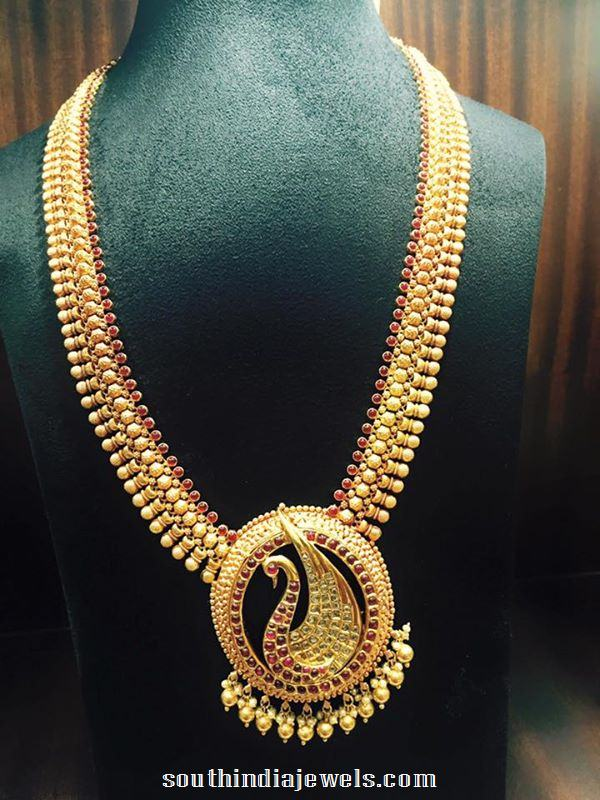Gold Ruby Peacock Long Necklace Design South India Jewels