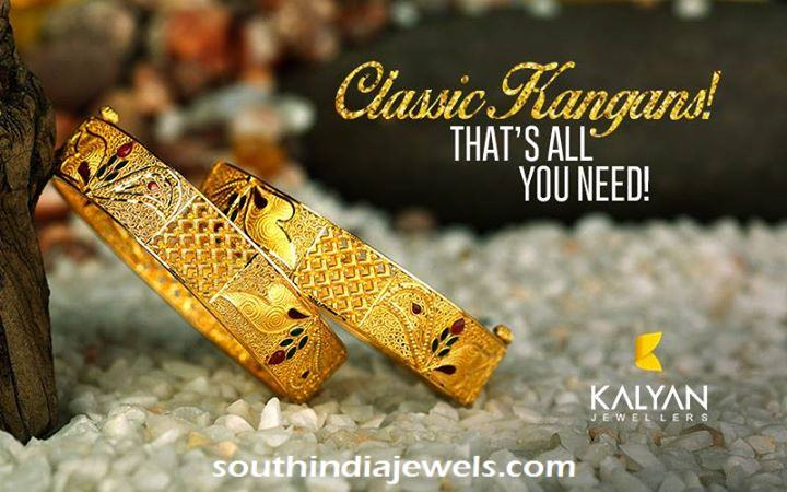 Gold Bangle with Enamel work from Kalyan Jewellers