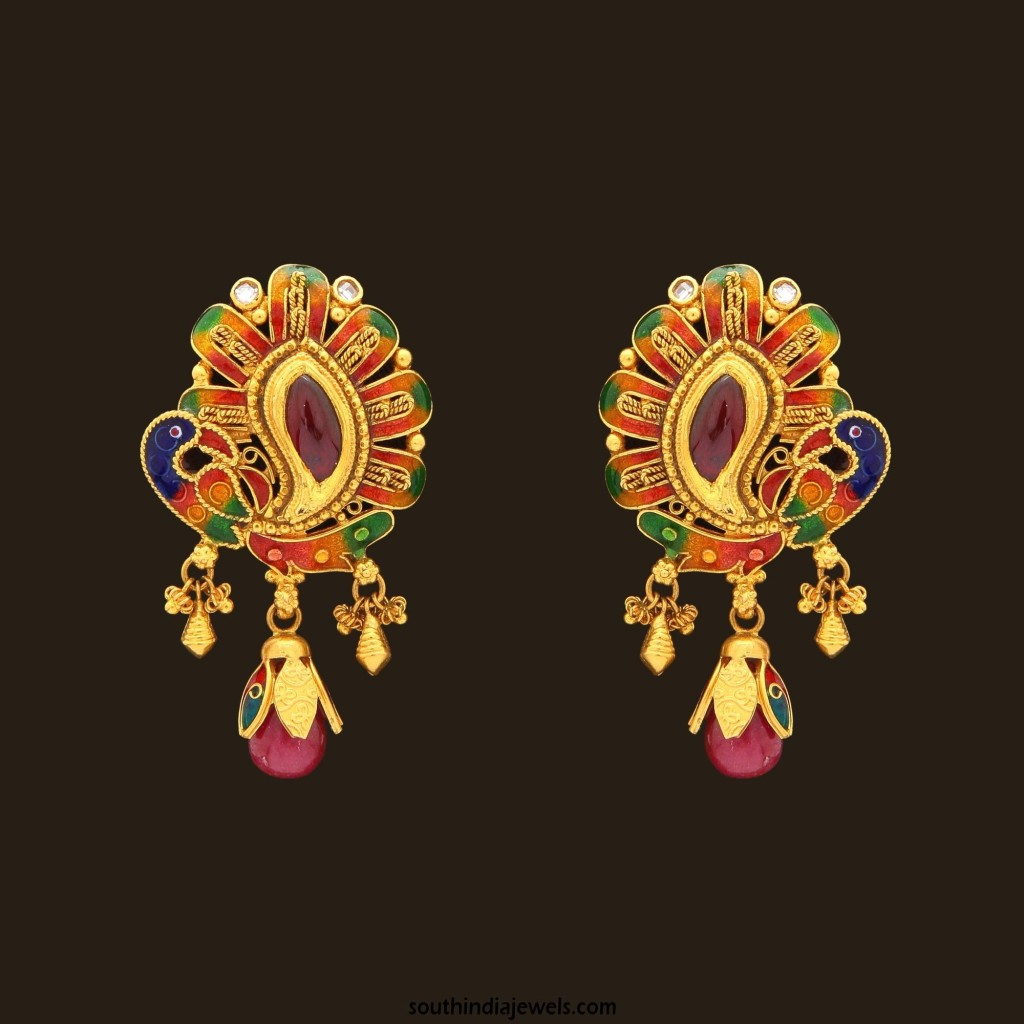 Gold Enamel Earrings from VBJ
