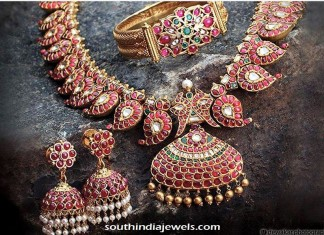 Gold Kemp Necklace , bracelet and Jhumka