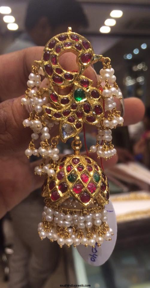 Gold Kemp Pearl Jhumka