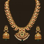 Gold Antique Mango Mala and Matching Jhumkas