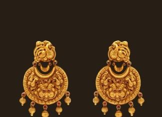 Gold Nakshi Work Nagas Earrings from VBJ