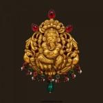 Gold Nakshi Work Ganesh Pendant