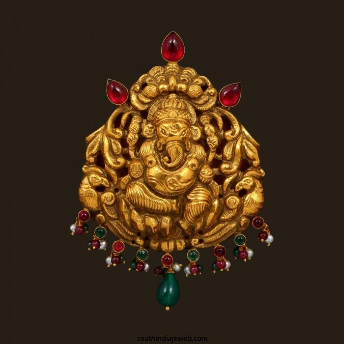 Gold nakshi work ganesh pendant south india jewels gold nakshi work nagas ganesh pendant aloadofball Image collections