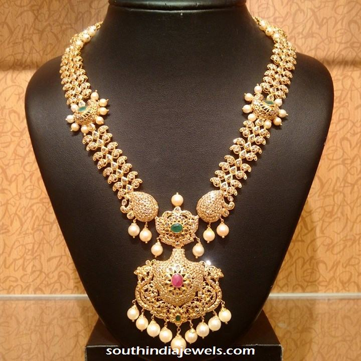Gold Pearl Stone Necklace From NAJ Jewellery