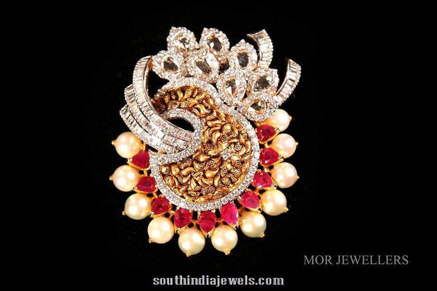 Diamond gold pendant from mor jewellers south india jewels designer gold pendant from mor jewellers audiocablefo