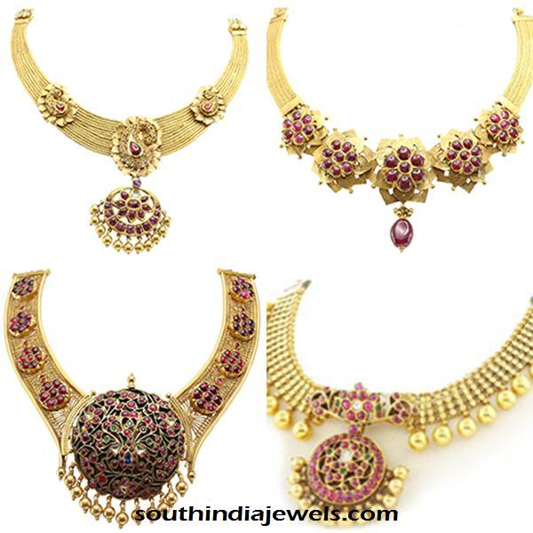 Gold ruby necklace designs from NAC Jewellers