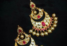 Gold Ruby Chandbali style earrings