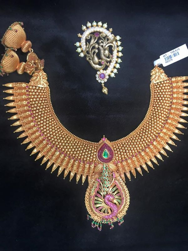 Kerala Style Gold Ruby Spike Necklace