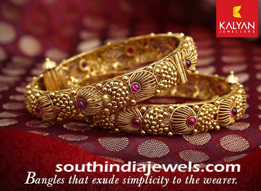 Kalyan Jewellers Antique Gold Bangle South India Jewels