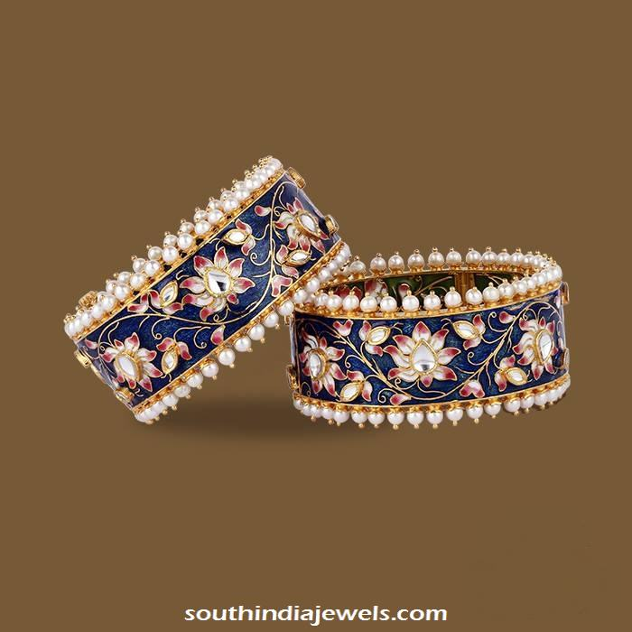 Gold Kundan Meenakari Bangles South India Jewels