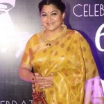 Actress Kushboo in Gold Clustered Necklace and Jhumka