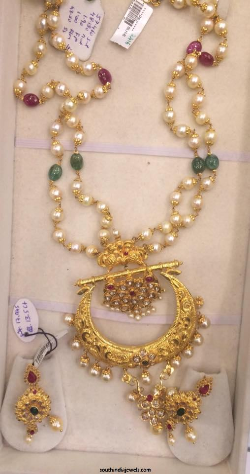 Pearl Mala with gold pendant