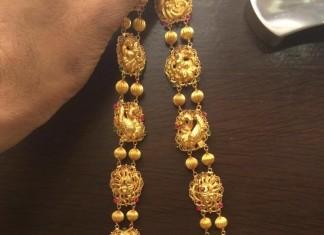 Gold Bridal Antique Long Necklace Design