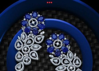 Diamond Earrings with Blue stones