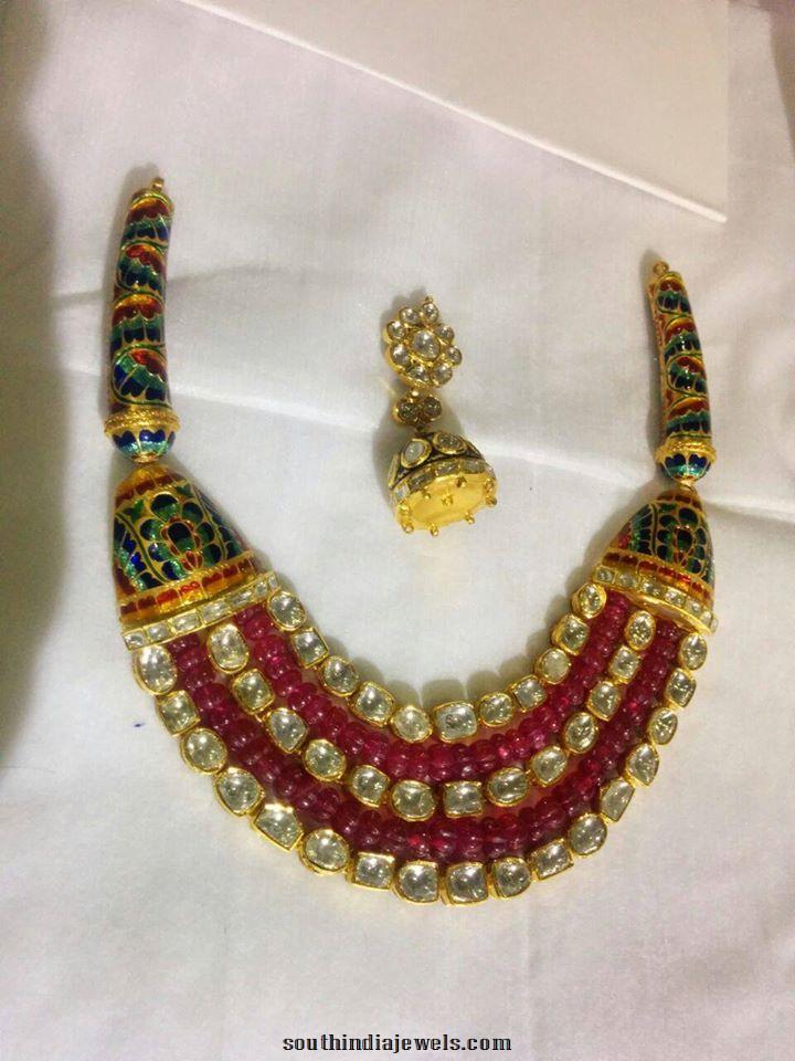 Three Layer Kundan Meenakari Necklace