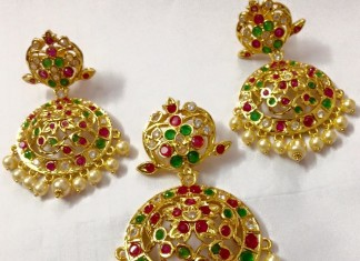 Uncut ruby emerald pendant and earrings