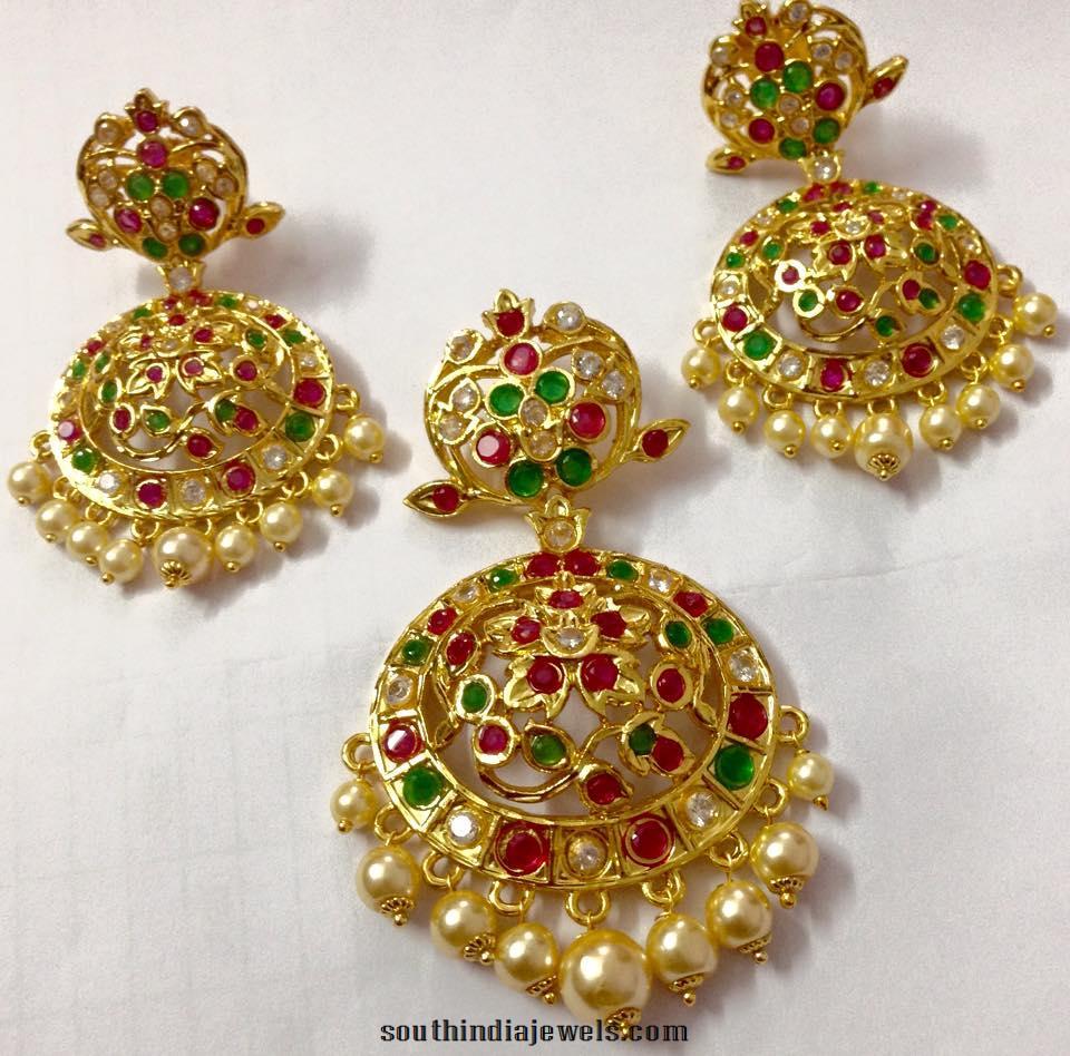 Uncut ruby emerald pendant and earrings