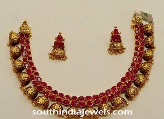 antique gold ruby jhumka necklace