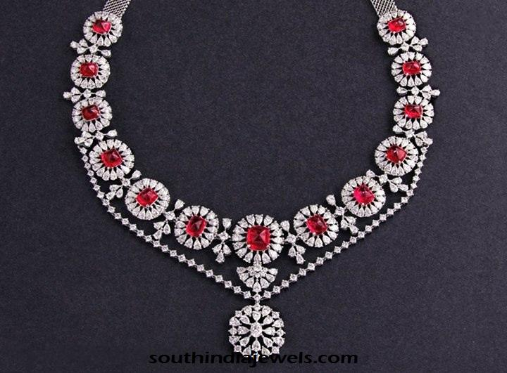 Classic diamond Necklace with red stones from C Krishniah Chetty and sons