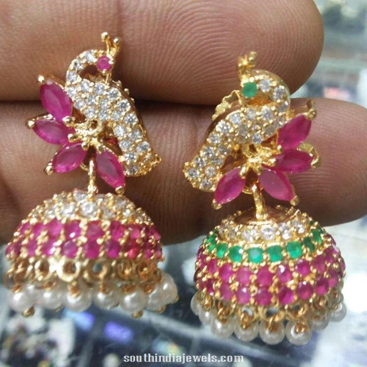1 Gram Gold Stone Jhumka South India Jewels