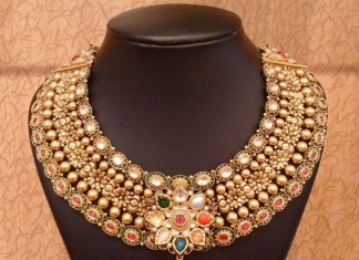 Gold Bridal Jodha Necklace with navaratna kundans from NAJ