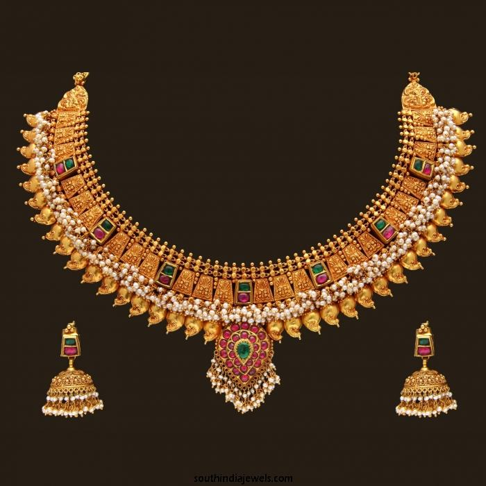 Gold Antique Pearl Necklace Set from VBJ