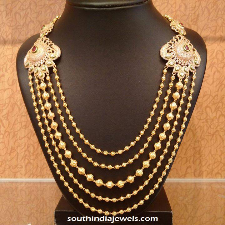 Gold Antique step chain necklace with side mogappu
