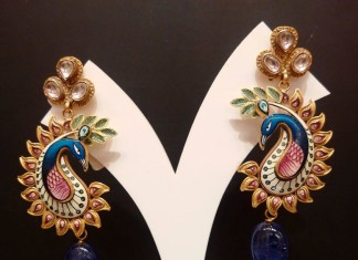 Gold Kundan Peacock Enamel Earrings