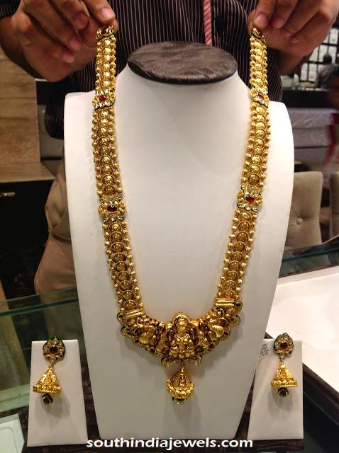 Gold Nakshi temple jewellery long necklce with jhumkas
