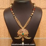 Gold Necklace with Elephant Tusk Pendant