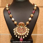 Gold Ruby Pearl Necklace Design