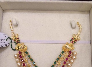 Gold three layer CZ Stone necklace with earrings