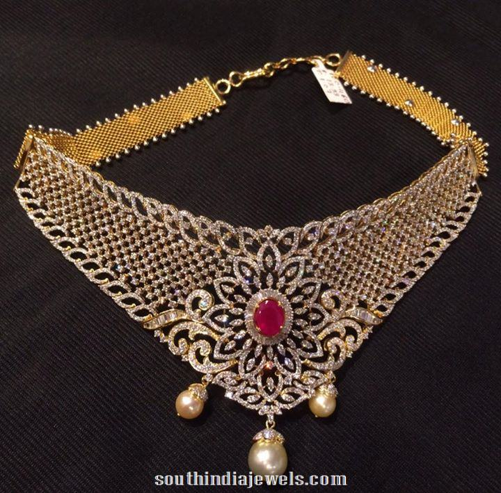 Grand Diamond Choker Necklace for Indian weddings