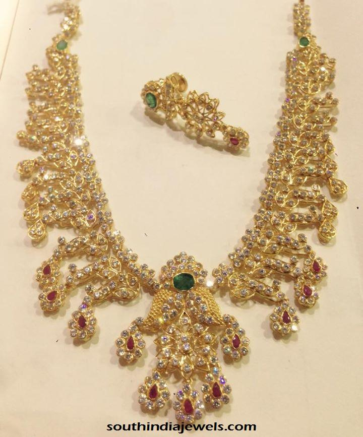 Light Weight Gold CZ Stone Necklace ~ South India Jewels