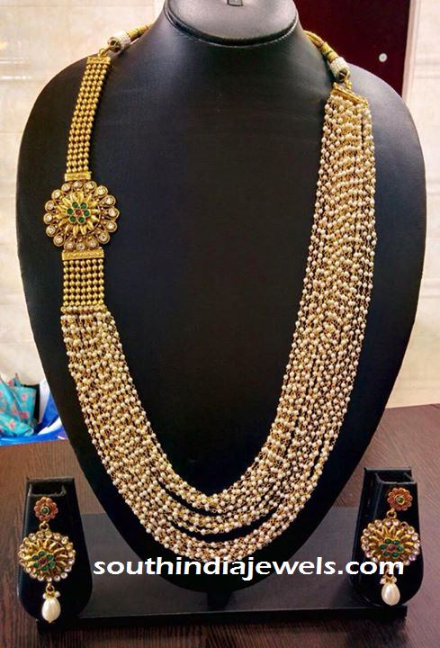 Multilayer imitation pearl chain necklace with pearl side Mogappu