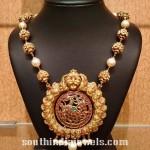 22K Gold Beaded Mala with Nakshi Pendant