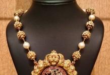 Gold mala with nakshi peacock pendant from NAJ