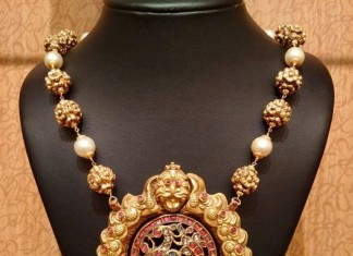 Gold mala with nakshi peacock pendant from NAJ