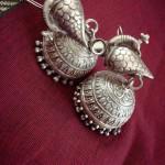 Silver Peacock Jhumka