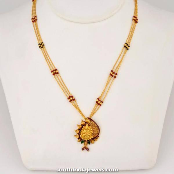 Gold three layer chain with lakshmi pendant south india jewels gold three layer chain with pendant aloadofball Images
