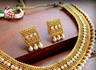 1 Gram gold necklace set with earrings