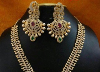1 gram gold stone necklace set
