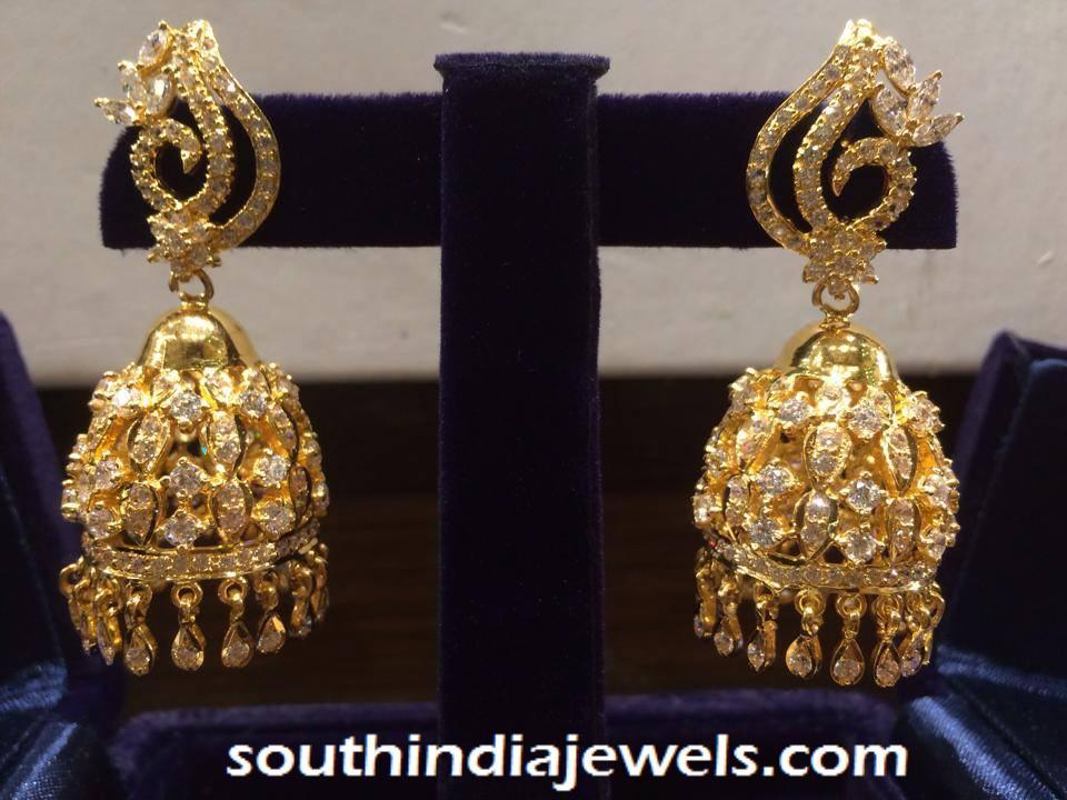22K gold white stone jhumka