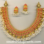 Gold Antique Ruby Pearl Necklace Set