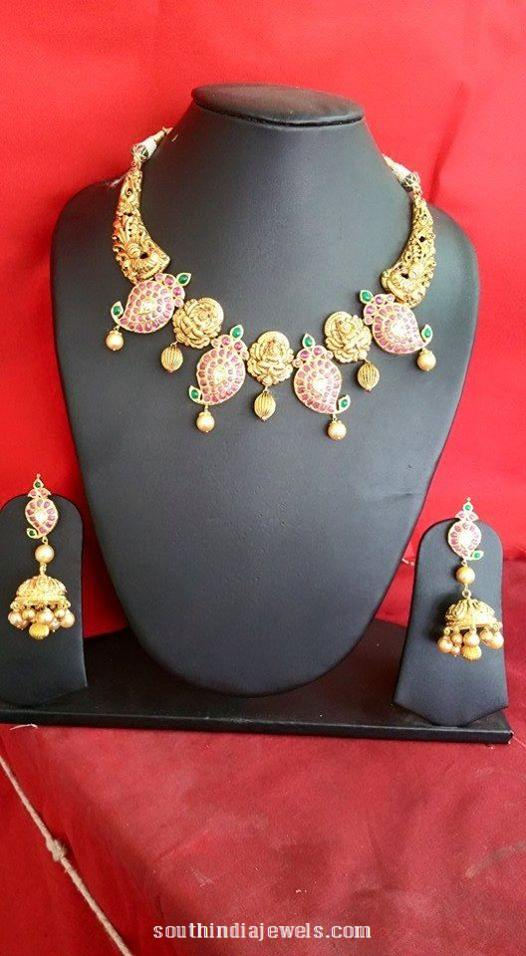 Antique gold ruby mango mala necklace